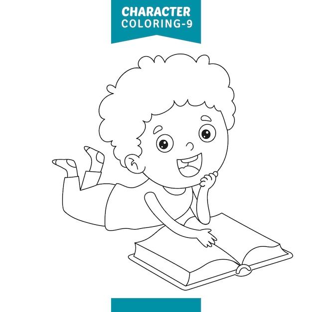 Illustrazione vettoriale di carattere da colorare Vettore Premium