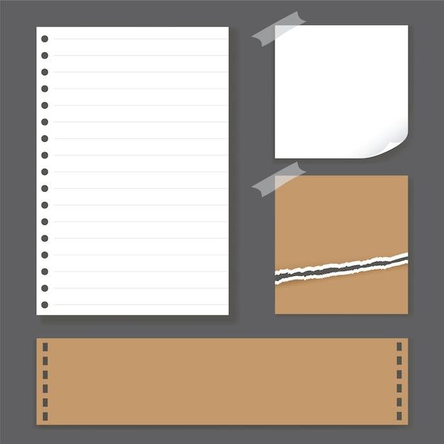 Illustrazione vettoriale di carta nota bianco e marrone. Vettore Premium