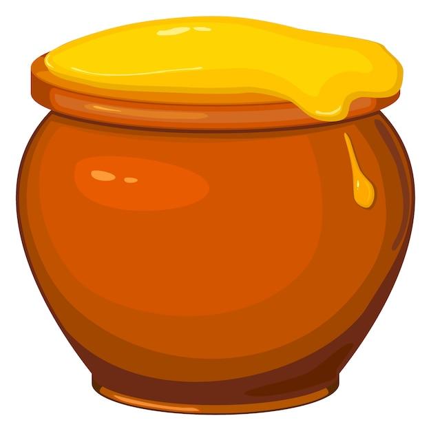 Illustrazione vettoriale di cartoon pentola di miele Vettore Premium