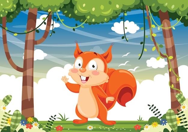 Illustrazione vettoriale di cartoon scoiattolo Vettore Premium