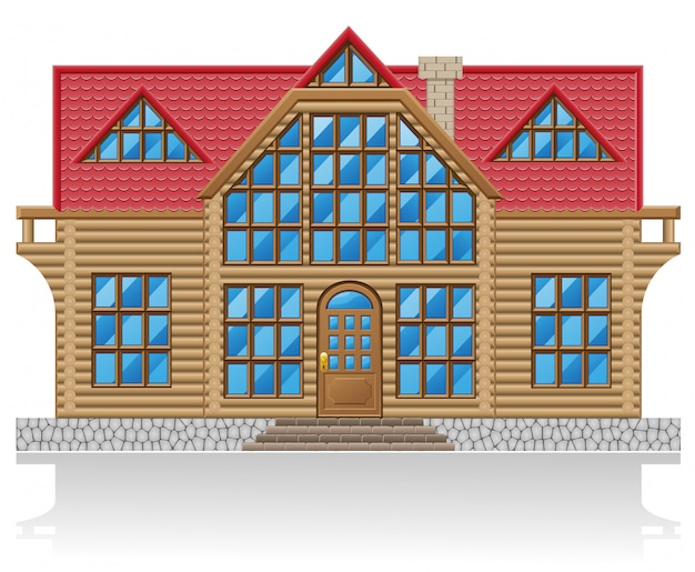 Illustrazione vettoriale di casa in legno Vettore Premium