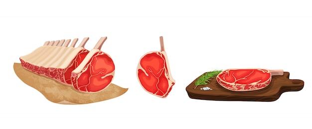 Illustrazione vettoriale di cibo. set di carne cruda stilizzata. Vettore Premium