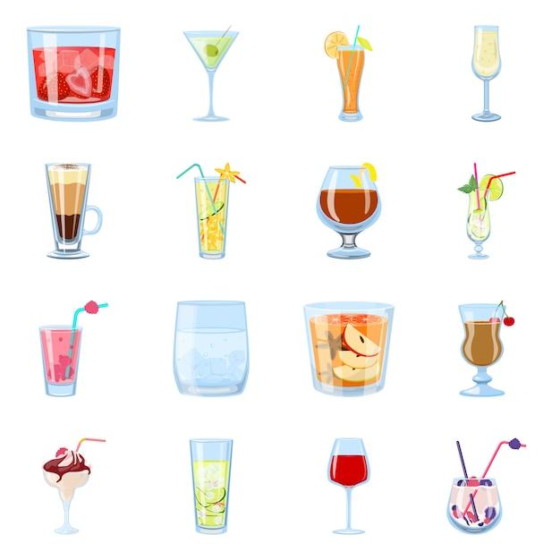 Illustrazione vettoriale di cocktail e bere simbolo. set di cocktail e set di ghiaccio Vettore Premium