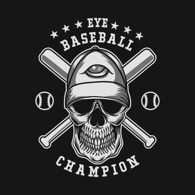 Illustrazione vettoriale di cranio baseball Vettore Premium