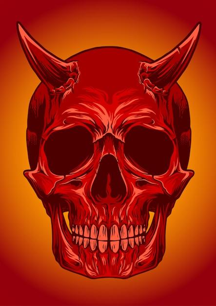 Illustrazione vettoriale di cranio diavolo Vettore Premium