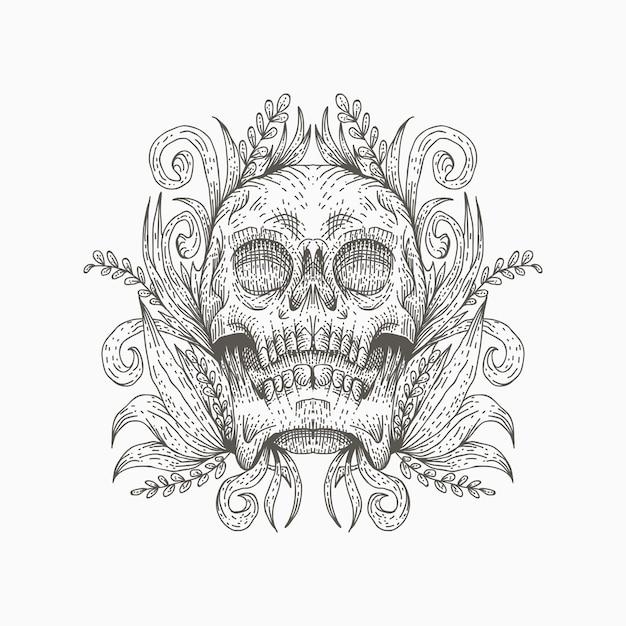 Illustrazione vettoriale di decorazione cranio Vettore Premium