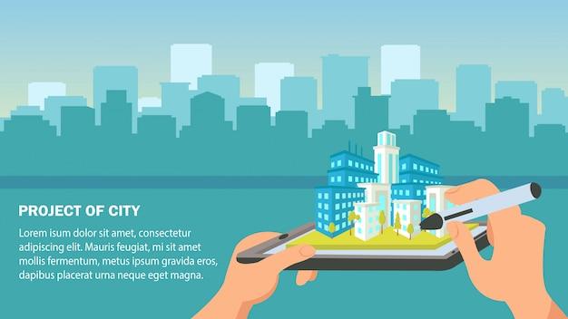 Illustrazione vettoriale di design piatto città progetto. Vettore Premium
