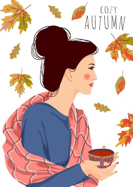 Illustrazione vettoriale di donna con una tazza di tè e foglie che cadono su uno sfondo bianco Vettore Premium