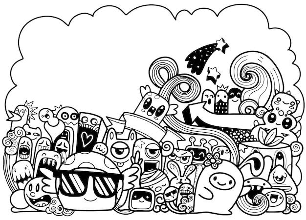 Illustrazione vettoriale di doodle simpatico mostro Vettore Premium