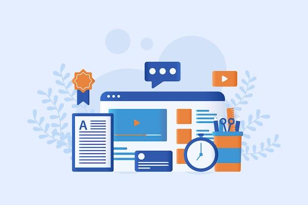 Illustrazione vettoriale di e-learning piatta Vettore Premium