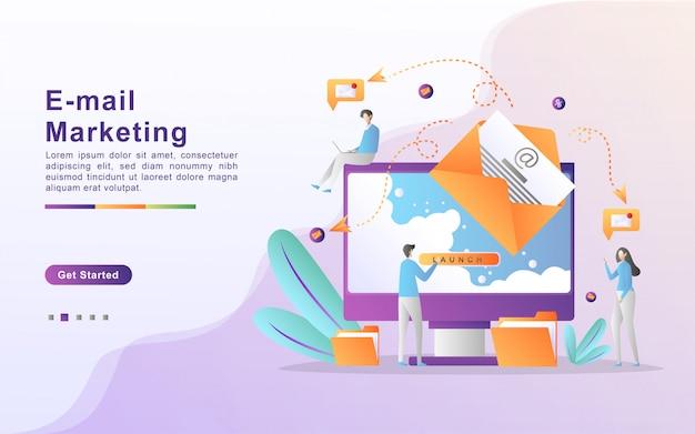 Illustrazione vettoriale di e-mail marketing e concetto di messaggio con