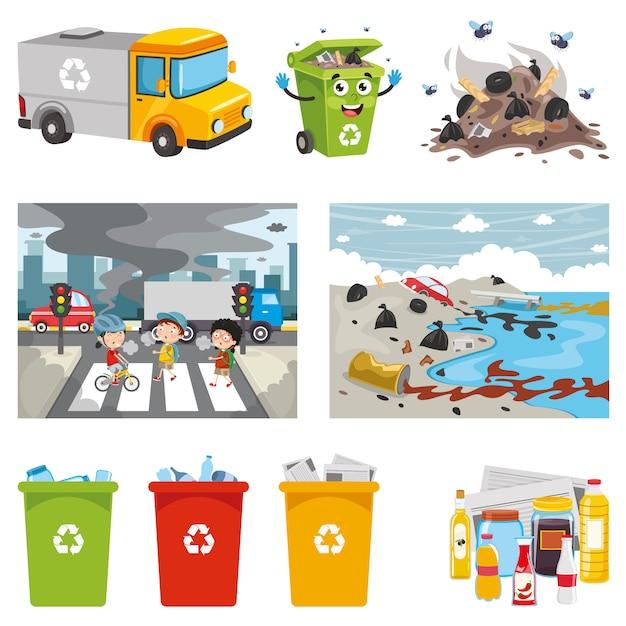 Illustrazione vettoriale di elementi ambientali Vettore Premium