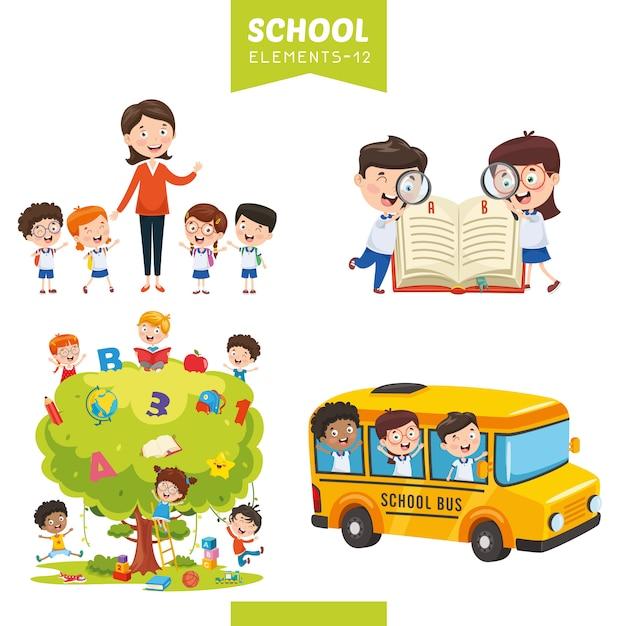 Illustrazione vettoriale di elementi di educazione Vettore Premium