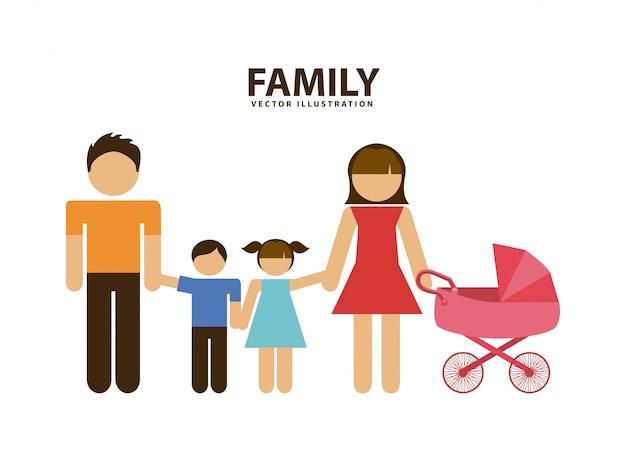 Illustrazione vettoriale di famiglia grafica Vettore Premium