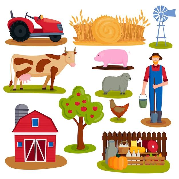 Illustrazione vettoriale di fattoria icona Vettore Premium