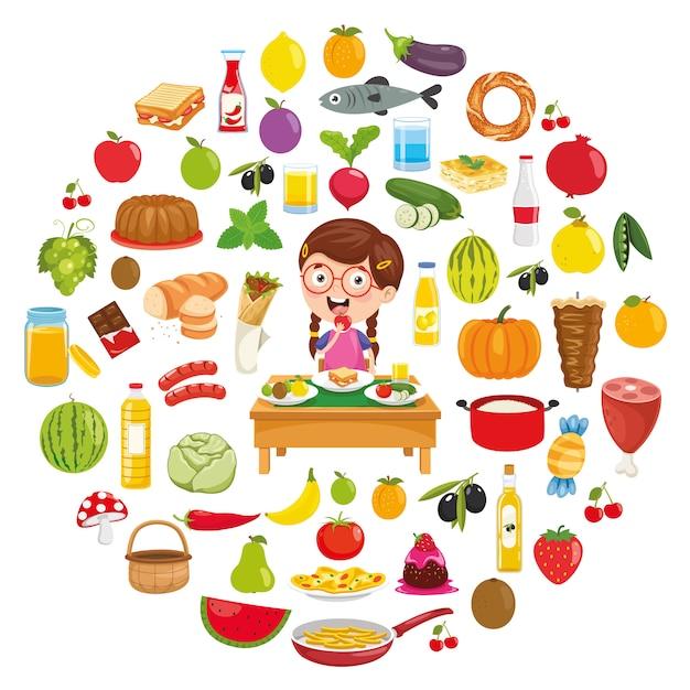 Illustrazione vettoriale di food concept design Vettore Premium