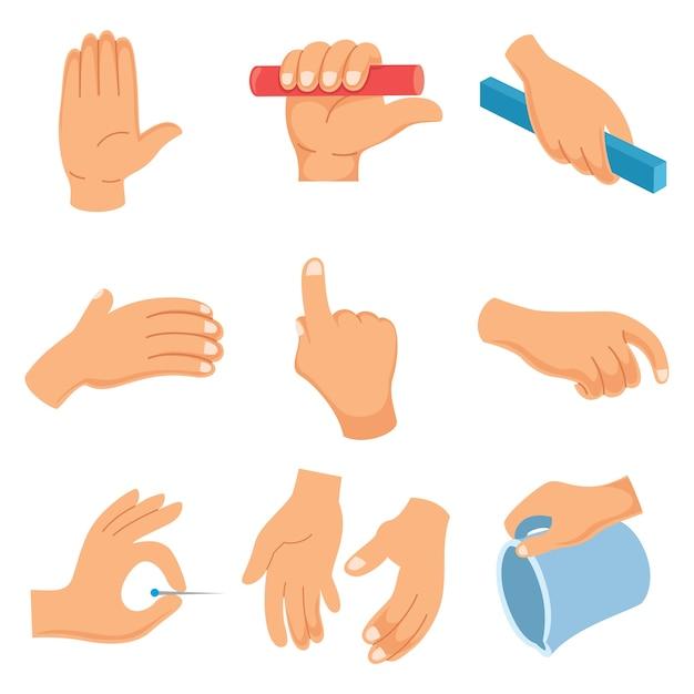 Illustrazione vettoriale di gesti delle mani Vettore Premium