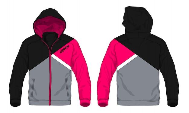 Illustrazione vettoriale di giacca sportiva con cappuccio. Vettore Premium