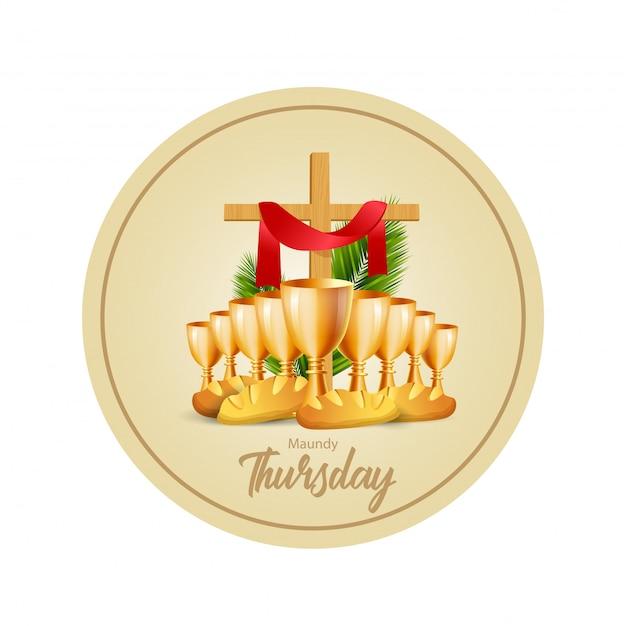 Illustrazione vettoriale di giovedì santo Vettore Premium