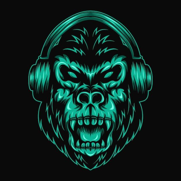 Illustrazione vettoriale di gorilla cuffia Vettore Premium