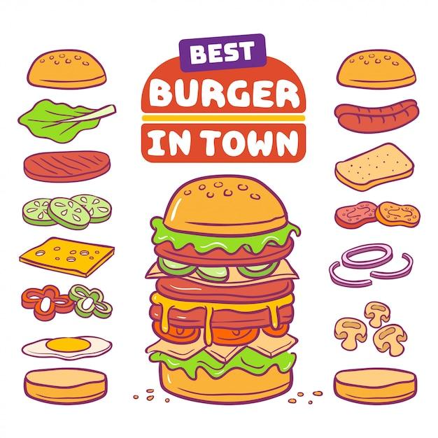 Illustrazione vettoriale di hamburger e ingrediente Vettore Premium