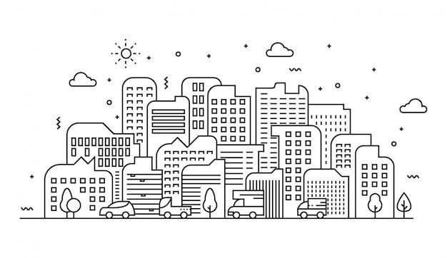 Illustrazione vettoriale di linee di paesaggio urbano Vettore Premium