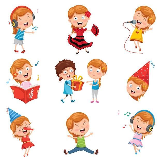 Illustrazione vettoriale di little party girl Vettore Premium