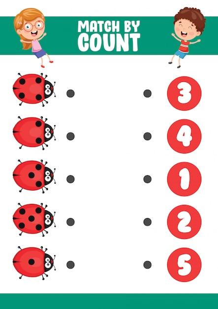 Illustrazione vettoriale di match by count exercise Vettore Premium