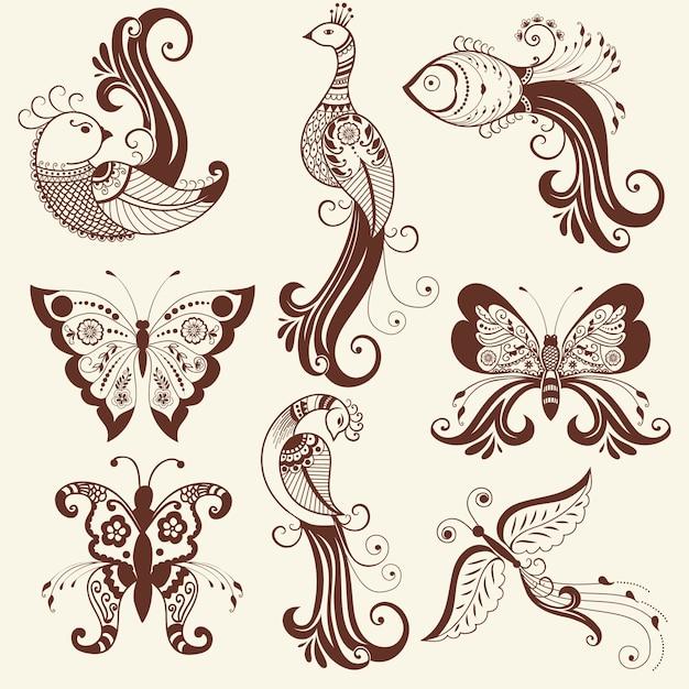Illustrazione vettoriale di mehndi ornamento. stile indiano tradizionale, elementi floreali ornamentali per tatuaggio henné, adesivi, mehndi e yoga design, carte e stampe. illustrazione vettoriale floreale astratta. Vettore gratuito