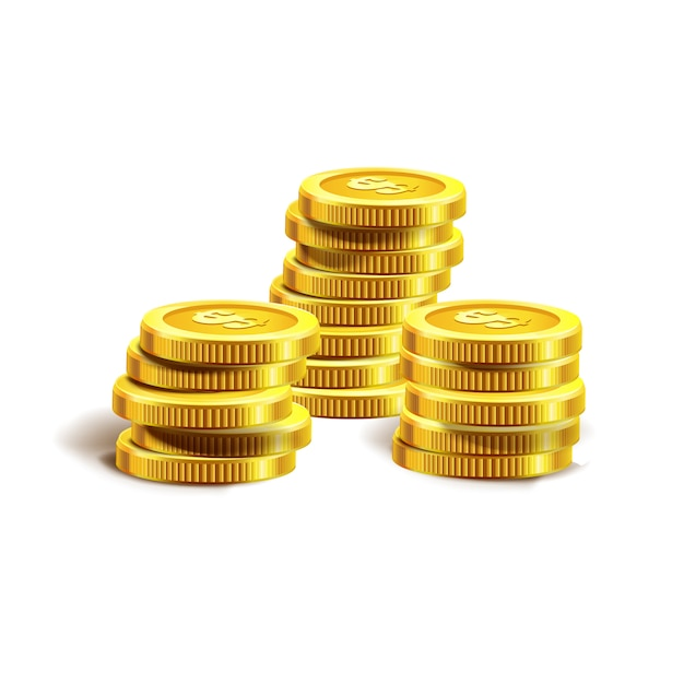 Illustrazione vettoriale di monete d'oro. isolato su bianco Vettore Premium