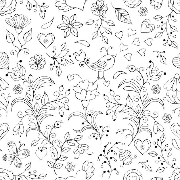 Illustrazione vettoriale di motivo floreale senza soluzione di continuità Vettore Premium