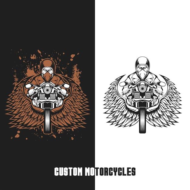 Illustrazione vettoriale di motocicli personalizzati motociclista Vettore Premium