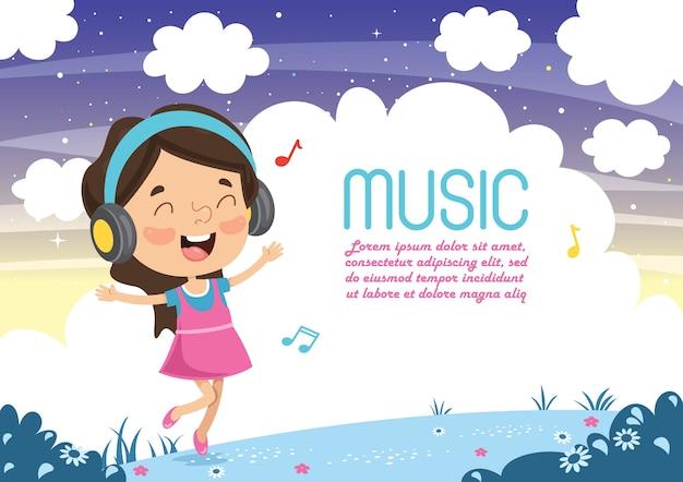 Illustrazione vettoriale di musica d'ascolto del bambino Vettore Premium