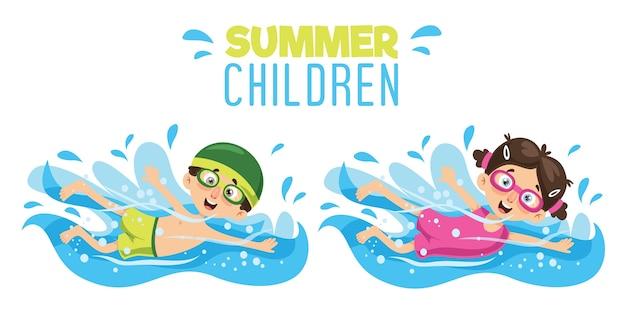Illustrazione vettoriale di nuoto del bambino Vettore Premium