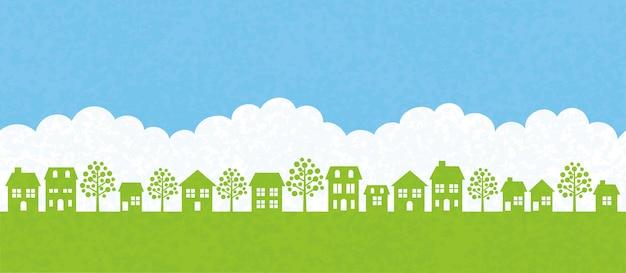 Illustrazione vettoriale di paesaggio urbano senza soluzione di continuità Vettore Premium