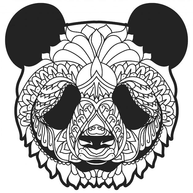 Illustrazione vettoriale di panda zentangle linea arte Vettore Premium