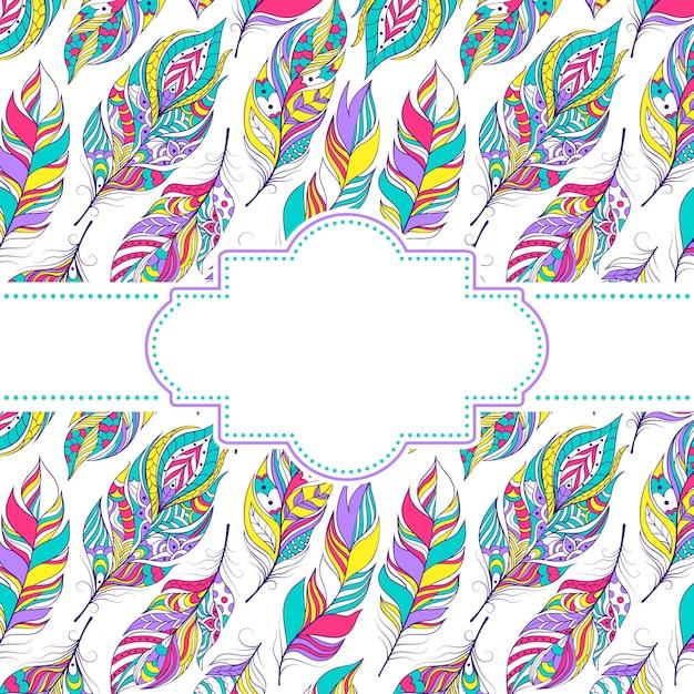 Illustrazione vettoriale di pattern con piume colorate Vettore Premium