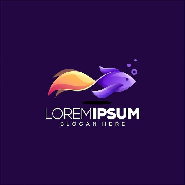 Illustrazione vettoriale di pesce colorato logo design Vettore Premium