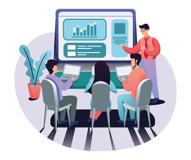 Illustrazione vettoriale di presentazione sito web Vettore Premium