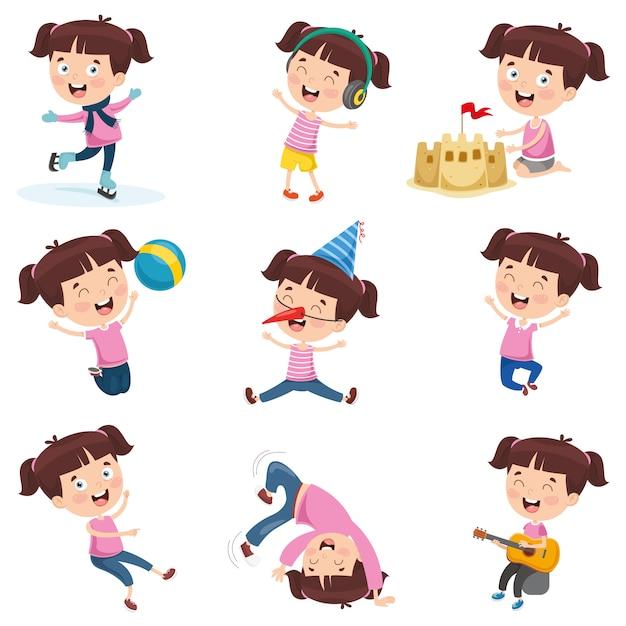 Illustrazione vettoriale di ragazza cartone animato facendo varie attività Vettore Premium