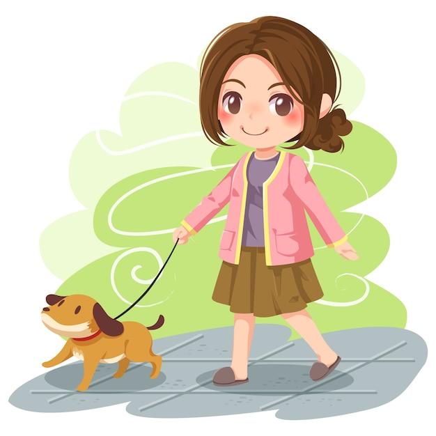 Illustrazione vettoriale di ragazza che cammina cane Vettore Premium