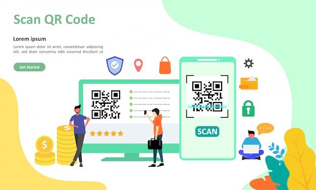 Illustrazione vettoriale di scansione del codice qr adatta per la pagina di destinazione del web Vettore Premium
