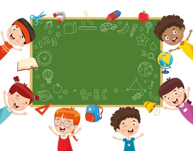 Illustrazione vettoriale di scolari Vettore Premium