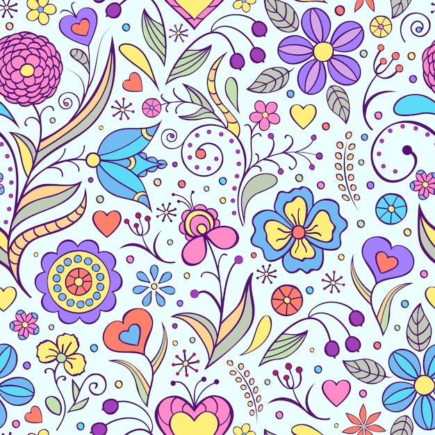 Illustrazione vettoriale di seamless con fiori astratti Vettore Premium