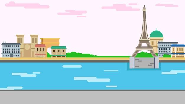Illustrazione vettoriale di sfondo parigi Vettore Premium