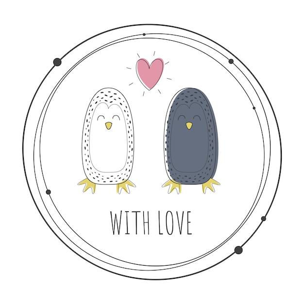 Illustrazione vettoriale di simpatici pinguini Vettore Premium