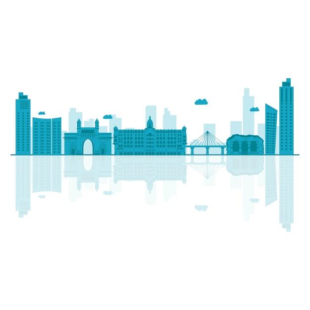 Illustrazione vettoriale di skyline di mumbai. Vettore Premium