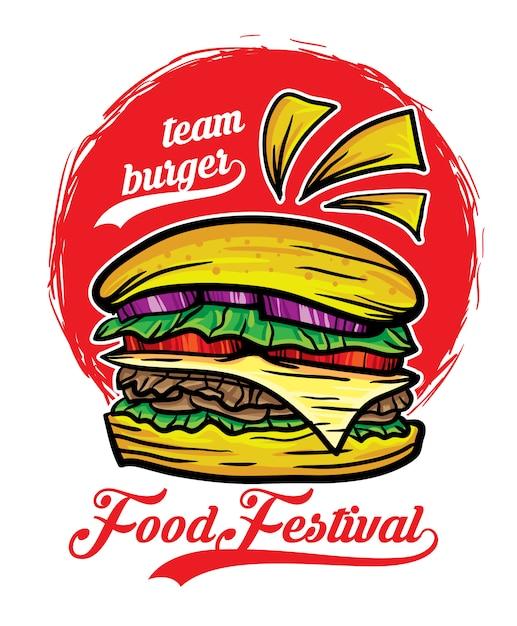 Illustrazione vettoriale di squadra hamburger cibo festival Vettore Premium