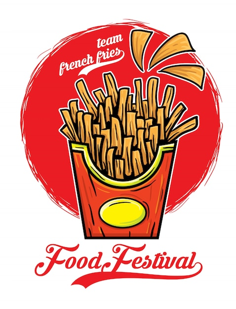 Illustrazione vettoriale di squadra patatine fritte cibo festival Vettore Premium