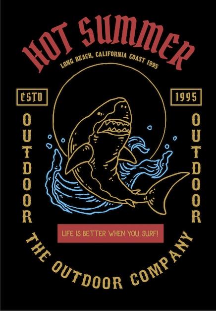 Illustrazione vettoriale di squalo con stile tatuaggio vintage Vettore Premium